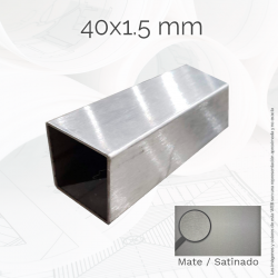 Tubo cuadrado 40 1.5mm Inox...