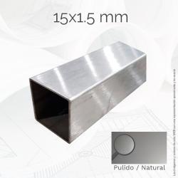 Tubo cuadrado 15 1.5mm Inox...