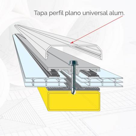 Tapa perfil plano universal alum. BL