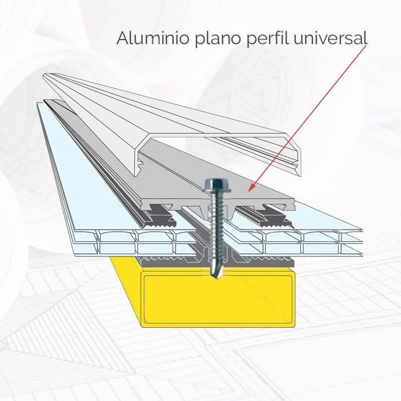 Aluminio plano perfil universal BL | Acero Panel